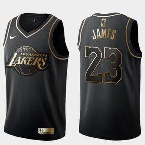 Lakers #23 LeBron James Jersey Black Golden (2)